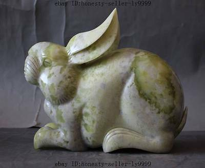 """8""""chinese natural green white jade carved lucky rabbit feng shui Home Decoration"""