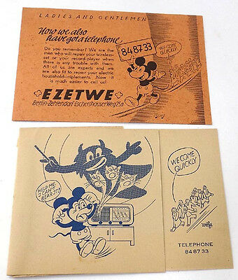 1946 Ads w' Mickey Mouse for Ezetwe Radio Repair Service Occupied Berlin US Zone