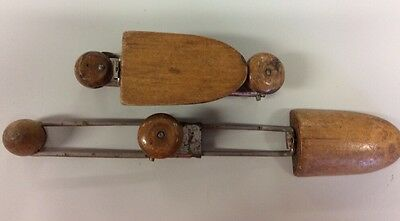 RARE  Antique Shoe Sizers Travel Fold up Adjustable Wood Knob Metal