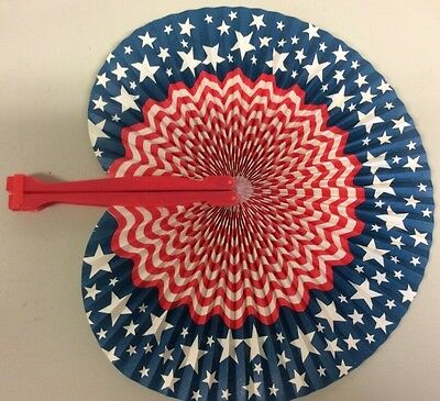 Old Vintage Folding Hand Fan Patriotic American Red White & Blue EUC