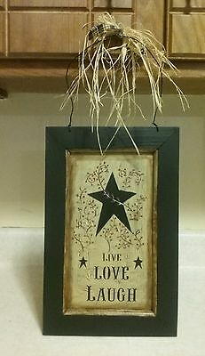 Primitive Crackle Star Wooden Picture- Country Farmhouse decor