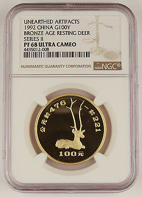 China 1992 100 Yuan 1 Oz Gold Coin Archeological Finds Resting Deer NGC PF68 UC