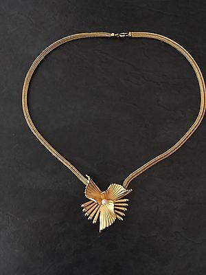 Vintage Signed 1967 Grosse Germany Gold Tone Faux Pearl Necklace