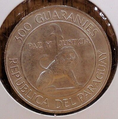 1968 Paraguay 300 Guaranies Extra Fine Silver Coin, KM 29