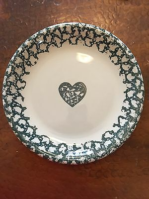 2 Tienshan Folk Craft Hearts Dinner Plates Green