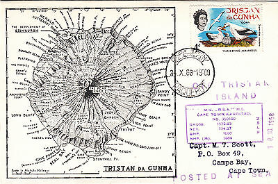 """Scott"" cover to Cape Town 1968 Posted at Sea off Tristan da Cunha"