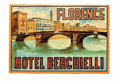 Vintage Hotel Luggage Label HOTEL BERCHIELLI Florence Italy