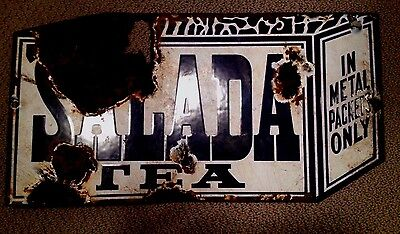 Original Vintage Salada Tea Porcelain Advertising Sign