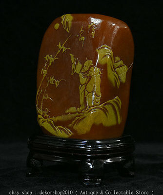 """7""""Antique China Natural Tianhuang Shoushan Stone Carved Old Man Mountain Statue"""
