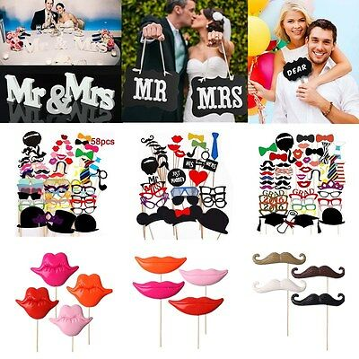 Paper Photo Booth Selfie Props Colourful Wedding Moustache Lips Fun on Stick