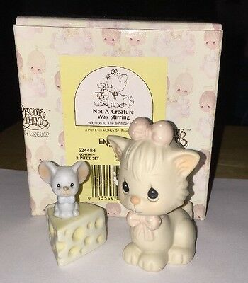 PRECIOUS MOMENTS NOT A CREATURE WAS STIRRING 524484 Mouse Cheese Kitten MIB