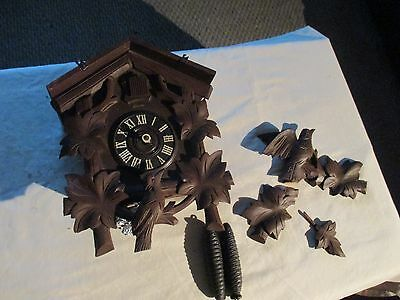 Vintage Germany Cockoo Clock Parts Or Repair Only With Weights