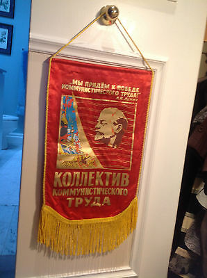 "Banner form old USSR Russia ""The group of communist work"" achievement decoration"