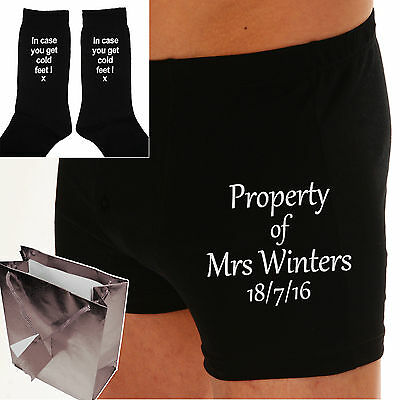 PERSONALISED Wedding Grooms underwear Gift Boxer Shorts & Socks EMBROIDERED