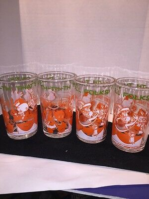 Set Of 4 1974 Warner Brothers That's All Folks Drinking Glasses