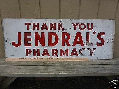 Nice Vintage Original Metal Sign for Jendral's Phamacy Drugstore - Uniontown, PA
