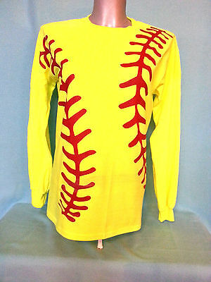 Neon Yellow Red Softball Graphics Long Sleeve T-Shirt  Adult Unisex Name Added