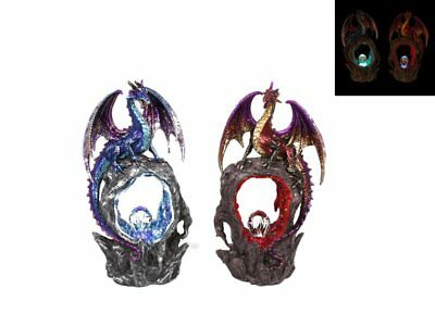 Dragon statue on light up red crystal lava cave, Great Gift!