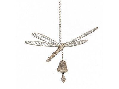 Cast Iron Hanging Bell Wind Chime Dragonfly Dragon Fly Outdoor Garden Decor