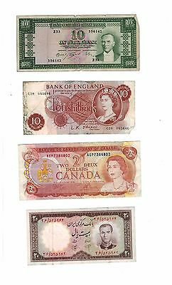 FA-BN0027- Lot of 4 mix World bank notes  choice fine- extremely fine
