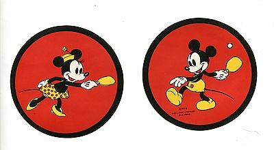 Vintage Disney Labels MICKEY MOUSE MINNIE MOUSE playing ping pong 1938