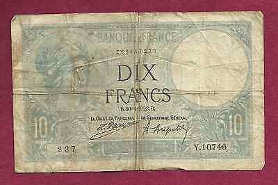 France 10 Francs 1923 Banknote Y10746 - P-73c Women in Helmet/Sitting Farm Woman
