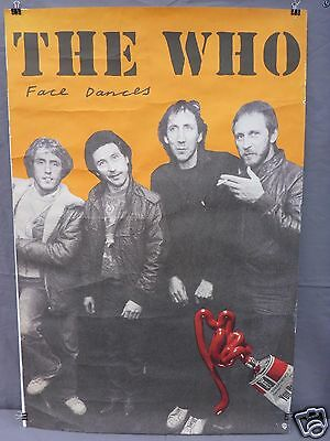 """LARGE 1981 The Who """"Face Dances"""" Promo Poster w/Pete Townsend WB Records"""