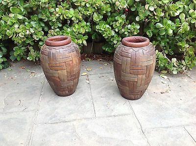 Pair Of Large Carved Wooden Vases