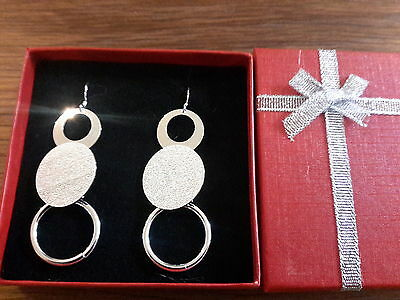Brand new large 925 stamped silver  earrings and gift box