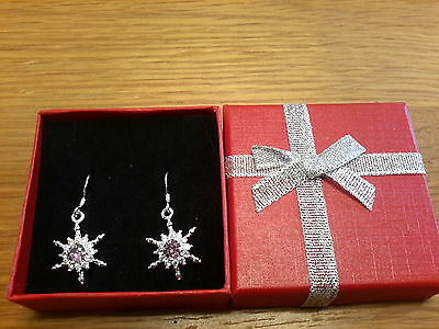Brand new 925stamped silver earrings with amethyst diamond  look stone + giftbox