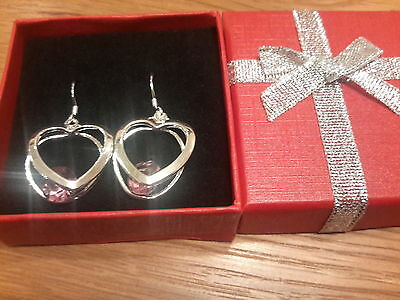 Brand new 925 stamped silver double heart and  amethyst earrings with gift box.