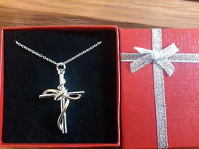 Brand new 925 stamped Silver two colour large cross necklace and gift box