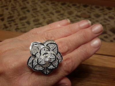 Brand new huge 925 stamped Silver flower ring + Gift Box