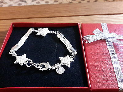 Brand new 925 stamped Silver plated multi stars Bracelet and gift Box