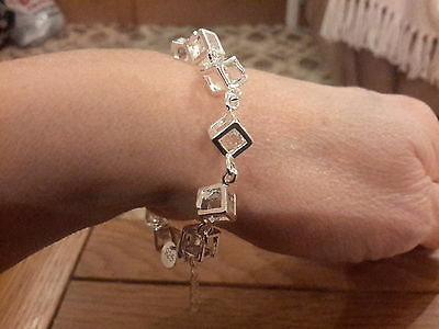 Brand new 925 stamped Silver Bracelet with clear stones +  gift box