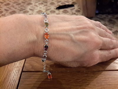 Brand new 925 stamped  pretty Bracelet with multi coloured  stones + gift box