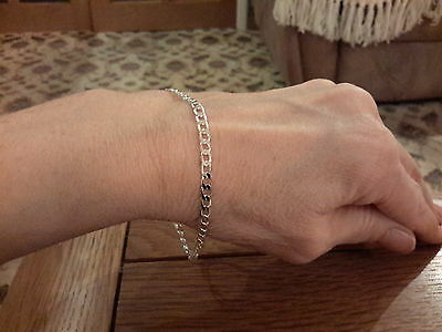 Brand new 925 stamped 4mm curb  bracelet  with gift box