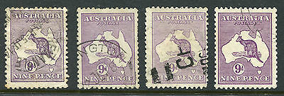 1913-1932 Australia. 4 x 9d violet Kangaroo stamps USED. 4 different watermarks.