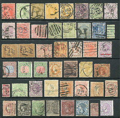 1850-1913 Victoria.  Unchecked selection of 46 stamps USED.