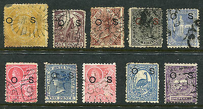 """1879-1892 New South Wales.  Unchecked selection of 10 stamps USED.  """"OS"""" optd."""