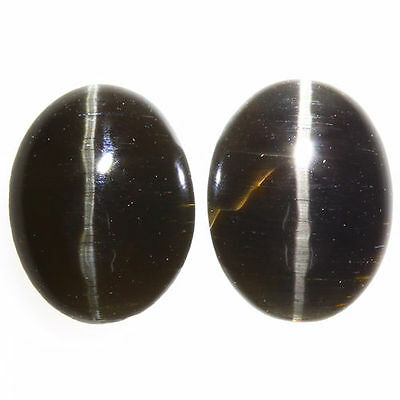3.970 Ct VERY RARE FINE QUALITY 100% NATURAL SILLIMANITE CAT'S EYE INTENSE PAIR!