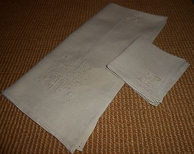 Vintage Linen Embroidered Luncheon Tablecloth & 4 Napkins Ca 1940-50's