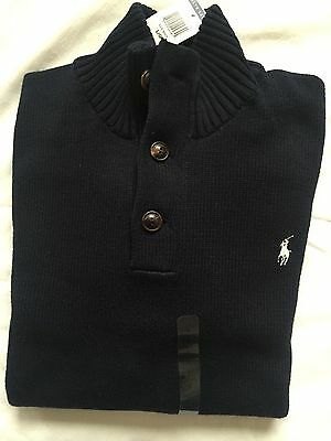 Polo Ralph Lauren Mens 3 Button Mock Neck Sweater NWT Polo Black