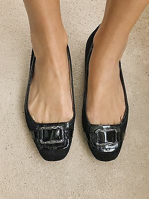 Supersoft By Diana Ferrari Black Suede Leather Murphy Flats Ballet Shoes. Size 9