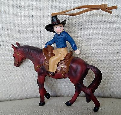 Young Cowboy on Horse Ornament Vintage Looking Realistic Chaps Hat  -  NEW