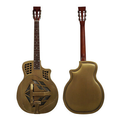 Cutway Vintage Bell Golden Finish tricone acoustic Resonator guitar Free Case
