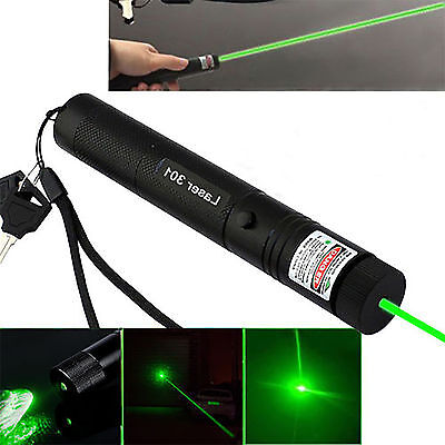 Green Light 532nm Military 301 Laser Pointer Pen Adjustable Focus Burning Torch