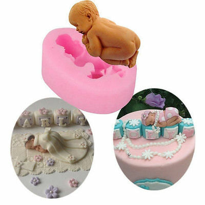 3D Baby Sleeping Silicone Fondant Mould Cake Decor Soap Icing Mold Baking Tool