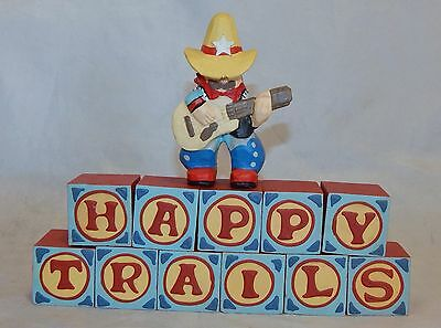 Midwest of Cannon Falls Western Happy Trails Blocks Letters and Cowboy Figure