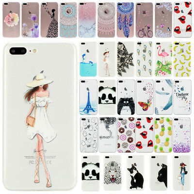 Painted Slim Soft TPU Rubber Clear Anti-shock Case Cover For iPhone 6s 7 8 Plus